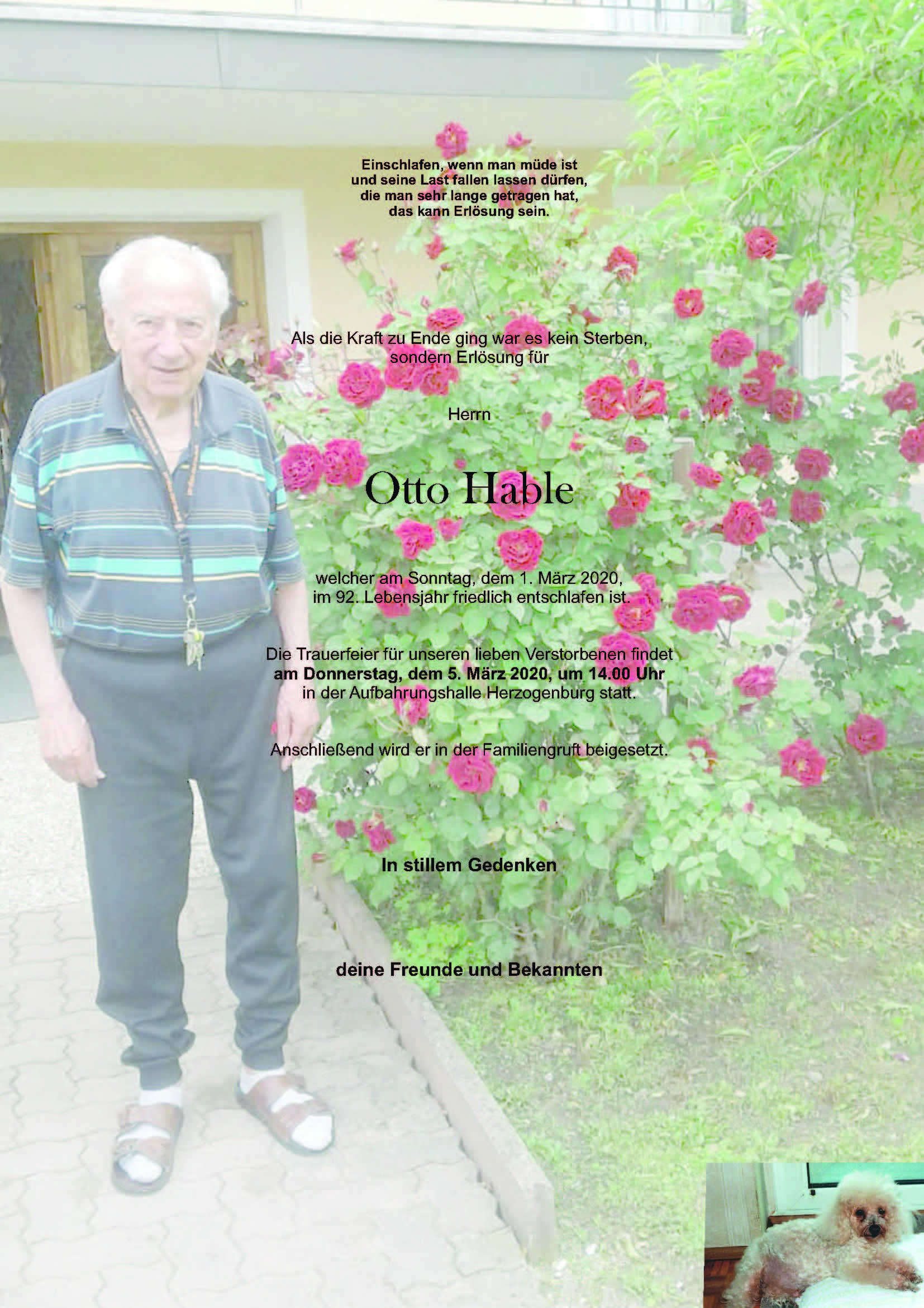 Sterbefall Otto Hable