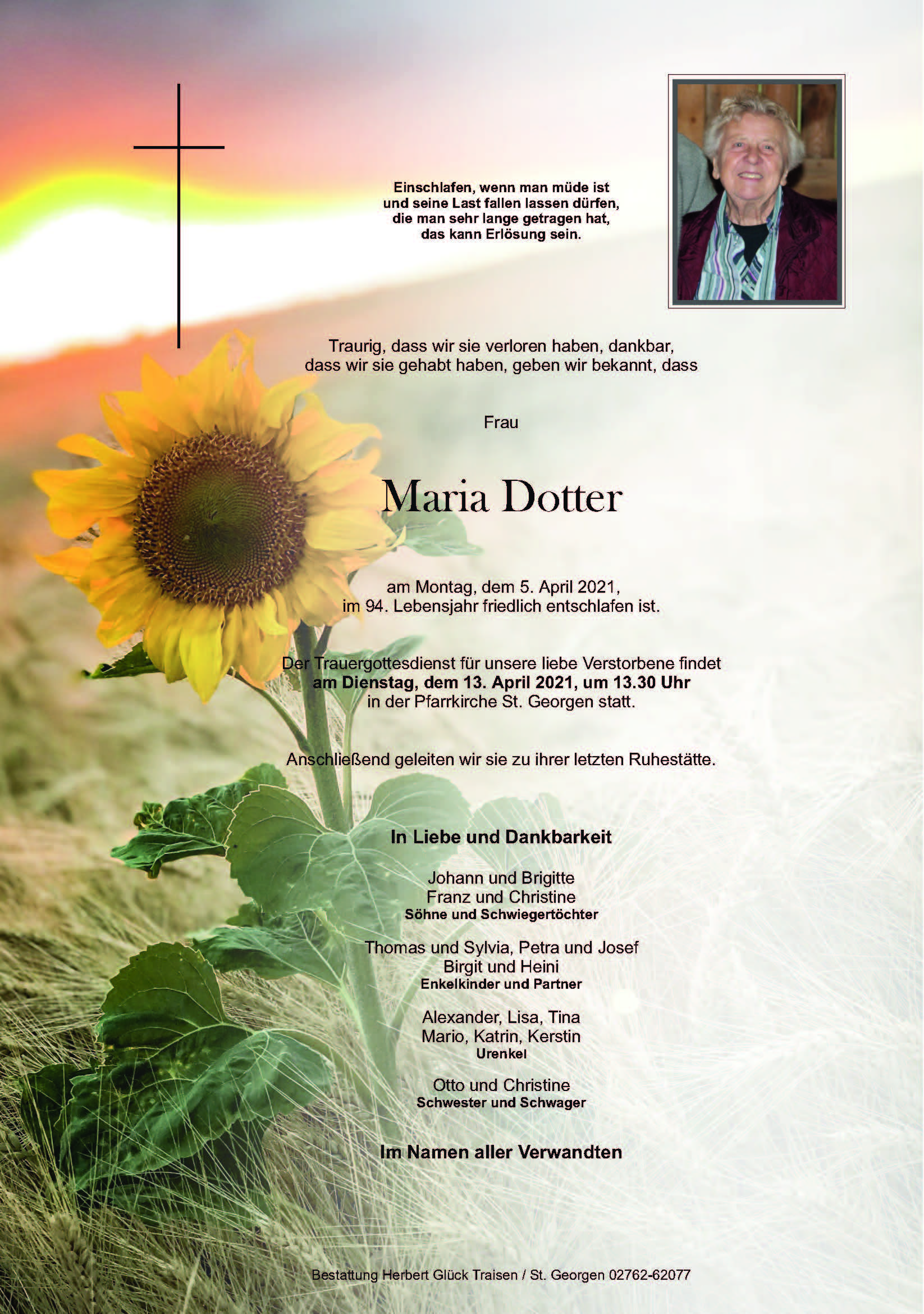Sterbefall Maria Dotter